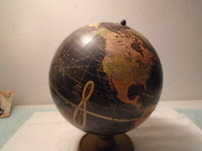 Vintage 1940s crams Terrestrial black world globe 10 1/2'' West French Africa