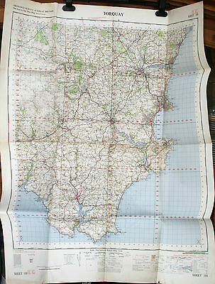 Vintage Ordnance Survey Map Torquay Sheet 188 7th Series War Office 1962 VGC