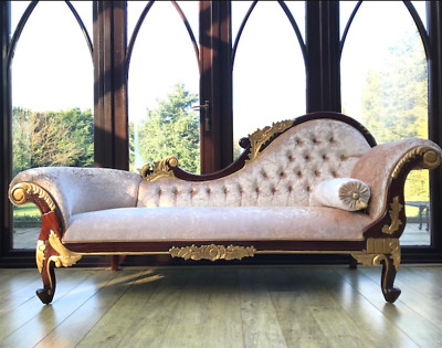 Beautiful Gold & Mahogany Hampshire Chaise with Creamy (BARLEY) Crushed velvet