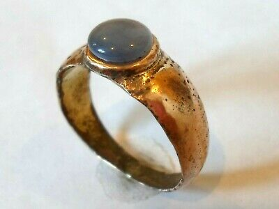 Detector Find & Polished,200-400 A.d Roman Bronze Ring With Real Gem Stone.