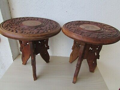 """""""Highlands"""" Oak Folding Stools (2) With Brass Inlays, Hand Carved."""