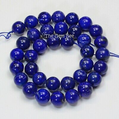 370.2CT Afghani Lapis Lazuli Smooth Round Beads 15.8 inch Strand