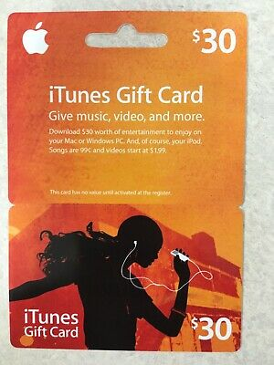 $30 Apple iTunes Gift Card Physical $30 Value Music Games New In Package