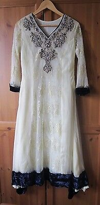 Pakistani Designer Bespoke Lace and Velvet Wedding Dress with Real Pearls
