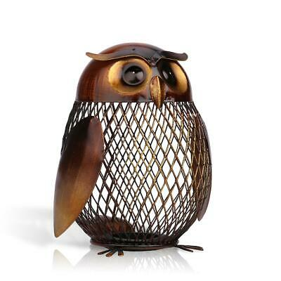 TOOARTS Owl Shape Metal Coin Box Furnishing Articles Handicrafts Sculpture X1G4