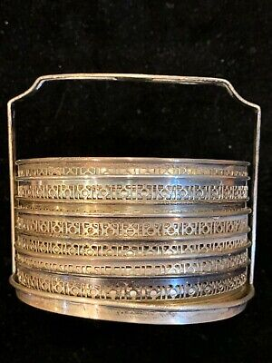 """Sterling Silver Marked Rim & Cut Glass 3"""" Coasters Set of 7 with Caddy"""