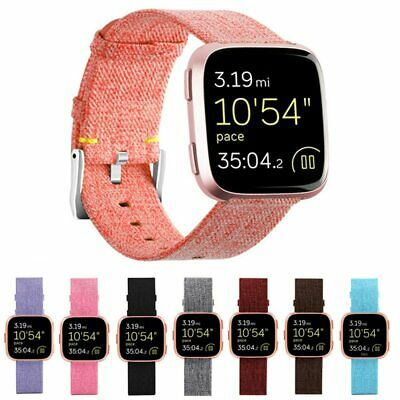 Replacement Woven Canvas Nylon Band Strap Wristband For Fitbit Versa /Lite