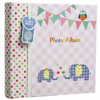 NEW Large Baby Girl Pink Memo Slip In Photo Album 200 6x4 Photos Elephant Kids I