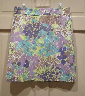 c8b492b7c3 Talbots Womens Cotton Skirt Size 8 Lavender Purple Green Floral Stretch  Lined