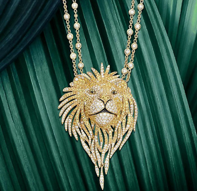 White & Yellow Lion Charming Face Shaped 3'' Long 925 Sterling Silver CZ Pendant