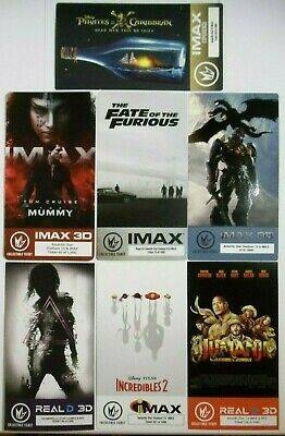 Lot-of-7 RARE Serial # Disney & 2017 Regal IMAX Movie Ticket Collectible Tickets