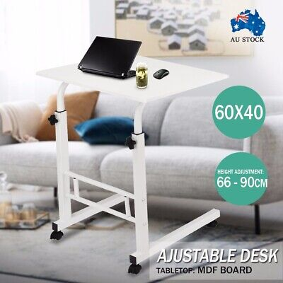 Portable Adjustable Mobile Wooden Laptop Study Desk Sofa Bed Side Table Stand