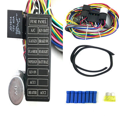 12 fuse box harness for a/c, ignition/battery, gauges, flasher