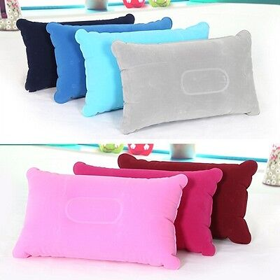 Inflatable Pillow Travel Air Cushion Camping Beach Car Auto Plane Head Rest NEW