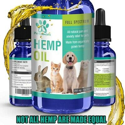 Organic Hemp Seed Oil for Dogs n Cats Pets Stress Anxiety Pain Relief 250mg 1oz