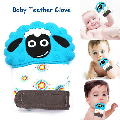 UK Baby Lamb Teething Mitten Silicone Mitt Teething Molar Gloves Wrapper Teether