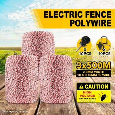 3X500M Portable Electric Fence Stainless Steel Wire Energiser W/ 20PCS Insulator