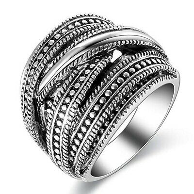 Newest Jewelry Men's Ring 925 Silver Punk Design Ring US Size 5 6 7 8 9 10 11
