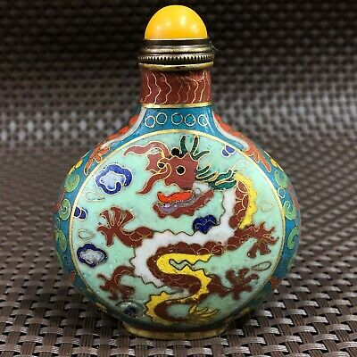 Old Collectible Chinese Cloisonne Handwork God Dragon Rare Antique Snuff Bottle
