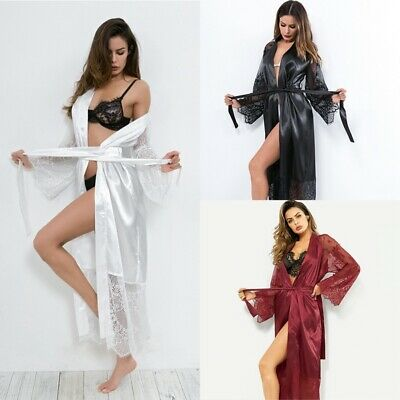 Sexy Ice Silk Long Robe Lace Embroidery Perspective Long Sleeve Long Robe AU