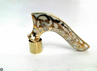 WHITE DESIGN NEW HANDLE SOLID BRASS for WOODEN WALKING STICK CANE- Only Handle