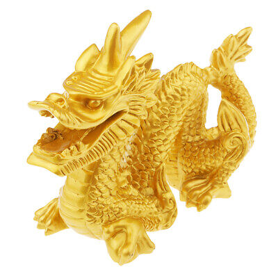 1 Piece Vintage Resin Wood Chinese Feng Shui Dragon Figurine Statues Gold