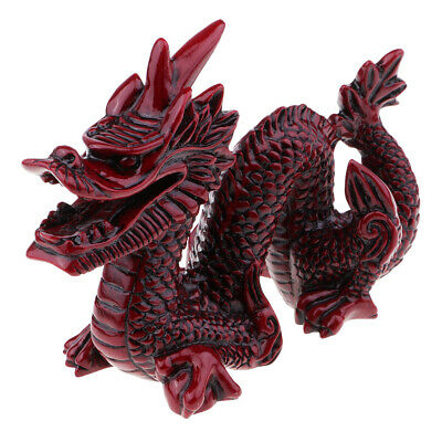 1 Piece Vintage Resin Wood Chinese Feng Shui Dragon Figurine Statues Red