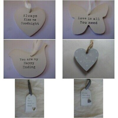 Vintage style shabby chic wedding hanging heart decoration