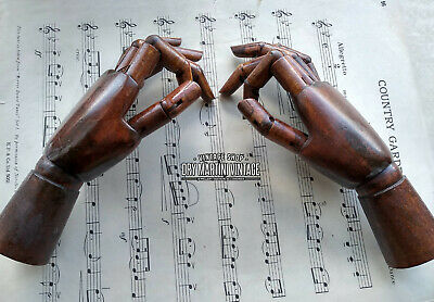 Antique Style Pair Artists Carved Wooden Articulated Hand Models Poseable
