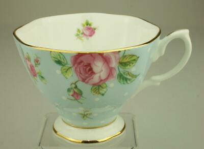 Royal Albert Footed Cup only in Polka Rose Blue Background White Dots KC403
