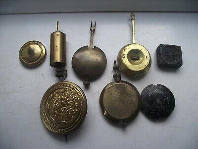 Antique Clock Collection Of 8 Pendulums & Weights Brass & Lead Weights See Pics