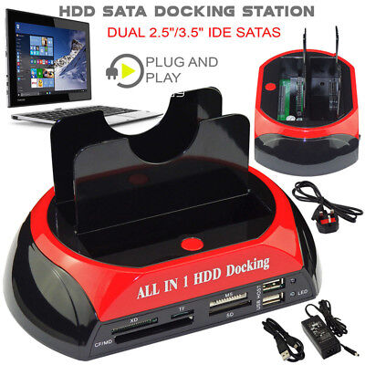 2.5″ 3.5″ Dual Hard Drive HDD Docking Station USB Dock Card Reader IDE SATA SA