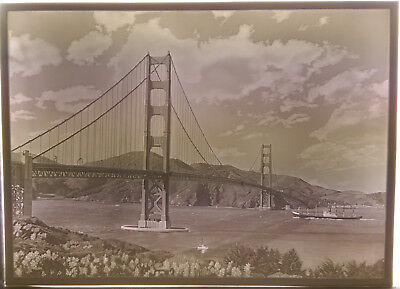 Grosse Lithophanie Large Lithophane Golden Gate Bridge San Francisco Plaue