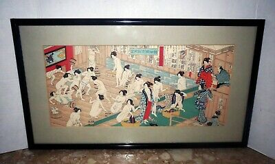 Antique JAPANESE BLOCK PRINT - SENSUAL GEISHA BATH HOUSE  - MONUMENTAL WORK