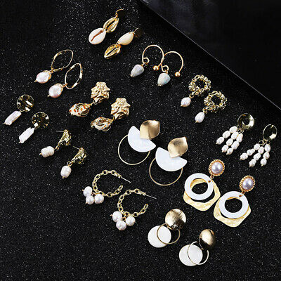 Women's Natural Sea Shell Dangle Drop Earrings Gold Color Big Statement Jewelry