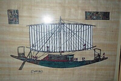 Exceptional Signed Old EGYPTIAN PAPYRUS PAINTING - NILE BOAT Ship EPHOLKION