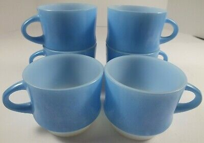 Six Anchor Hocking Fire-King Mosaic Blue Glass Stackable Coffee Cups / Mugs