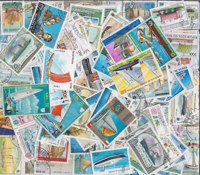 Ships on Stamps Collection - 200 Different Stamps, All Large