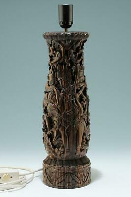 Balinese Carved Wood Lamp with Hindu Goddess - Bali, Indonesia