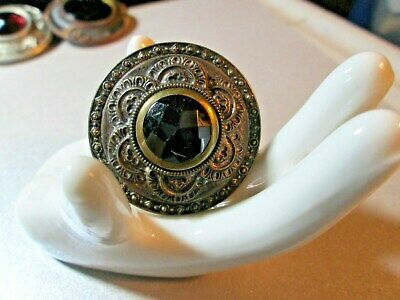 """Large VINTAGE Jewelled Button*GAY Nineties 90s*black facetted **1-3/8""""     *1954"""