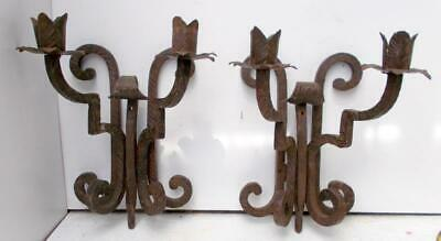 Superb Pair of Vintage French Wrought Iron Gothic Wall Lights Candle Sconces !