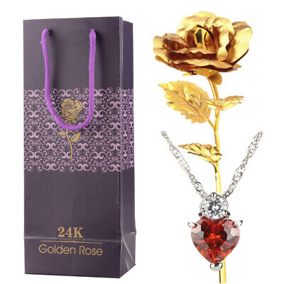 "24K Gold Foil Plated Rose Flower+18"" 925 Red Crystal Necklace Thanksgiving Day"