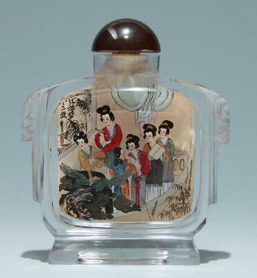 Chinese Carved and Inside Painted Crystal Snuff Bottle       #386