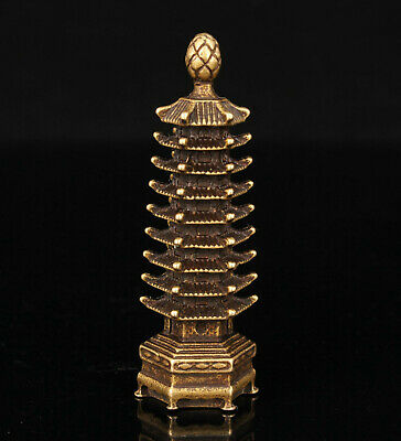 China Old Hand-carved Hollow Out Retro Brass Mini Tower Statue