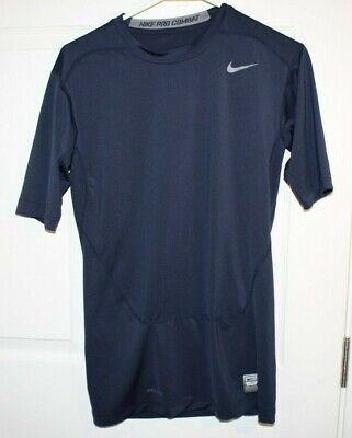 45d086fc MEN'S SMALL NIKE Pro Combat Shirt Dri-Fit Fitted Blue Long Sleeved ...