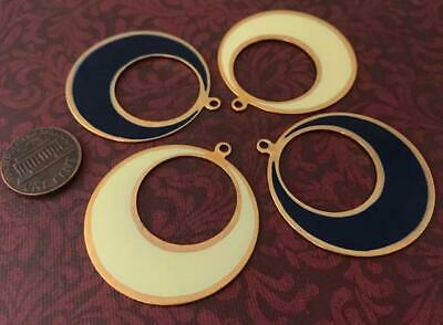 Vintage 38mm Flat Enameled Navy Blue and Yellow Gold Tone Metal Hoops Charms 4