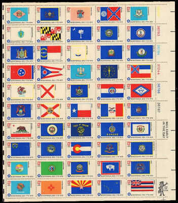 US Stamps - 1976 State Flags - Sheet of 50 Stamps  - Scott #1633-82