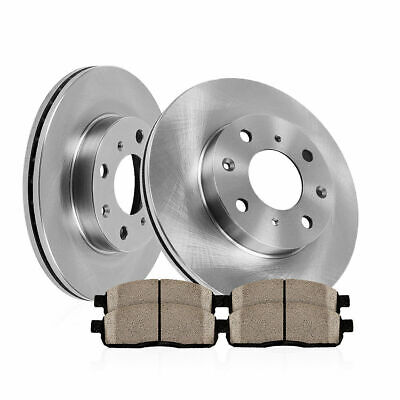 Fits 2004-2007 Mitsubishi Galant Rear Plain Brake Rotors Ceramic Brake Pads