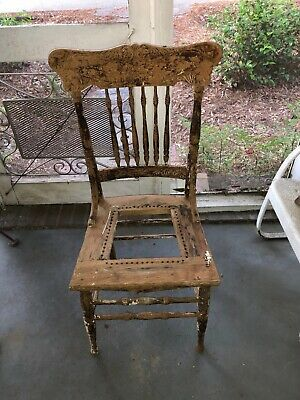 Antique Oak Straight Back Chair