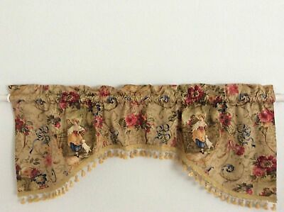 Richloom Fragonard Romantic Gold Red Colorful French Country Toile Swag Valance